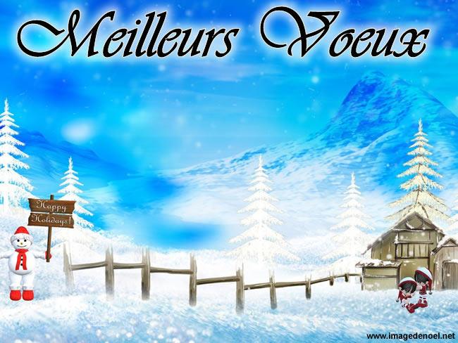 Image de Noël: Paysage enneigé