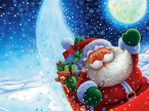 Image de Noël: Père Noël drôle