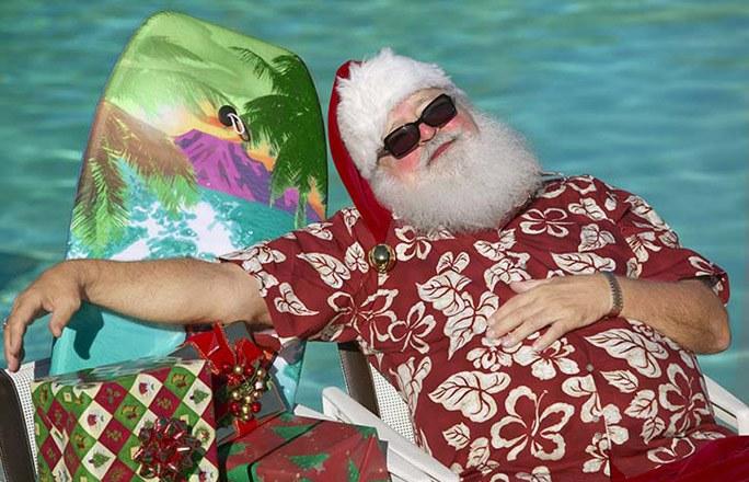 Image de Noël: Père Noël en mer
